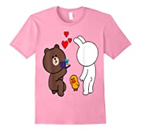 Brown Bear Cony Bunny Rabbit Engaget Ring Marriage Fiance Shirts Light Pink