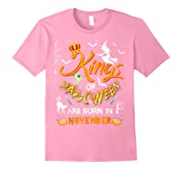 Kings Of Halloween Are Born In November Birthday Costume Shirts Light Pink