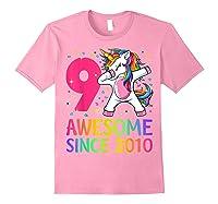 9 Years Old 9th Birthday Unicorn Dabbing Girl Party Shirts Light Pink