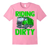 Recycling Trash Garbage Truck Riding Dirty Shirts Light Pink