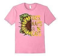 Sunflower Tats Naps & Cats Sunflower Tshirt Cat Lover Gifts Light Pink