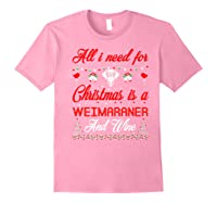 All I Want For Christmas Weimaraner And Wine Gift Premium T-shirt Light Pink