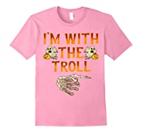 I'm With The Troll Costume Funny Halloween Couple Shirts Light Pink