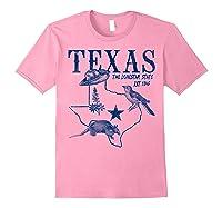 Vintage Texas Mockingbird Lone Star Bluebonnet Armadillo Hat Shirts Light Pink