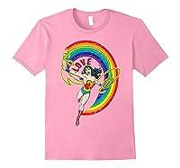 Wonder Woman Rainbow Love Shirts Light Pink