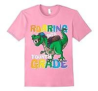 Roaring Into Fourth Grade 4 Dinosaur Back To School Soccer Shirts Light Pink