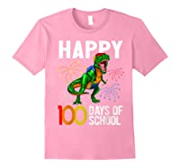 100 Days Of School Dinosaur T Rex Pencil Backpack Gift Shirts Light Pink
