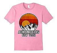 Adirondacks Retro Mountain Sunset Shirts Light Pink