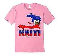 Vintage Haitian Flag I Love Haiti Shirts Light Pink