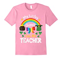 Rainbow Shamrock My Lucky Charms Call Me Tea Shirts Light Pink