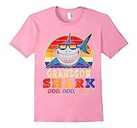 Vintage Grandson Shark T-shirt Birthday Gifts For Family Light Pink