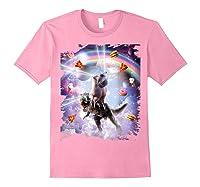 Laser Eyes Space Cat On Dinosaur - Rainbow T-shirt Light Pink