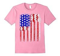 Guitar Vintage American Usa Flag Rock 4th Of July Shirts Light Pink