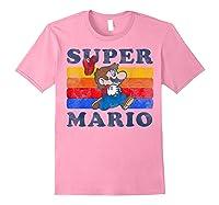 Super Mario Losing Hat Stripes Shirts Light Pink