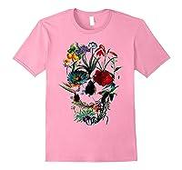 Skull Flowers Tulip Sugar Skull Tree Floral Skull Rose T-shirt Light Pink