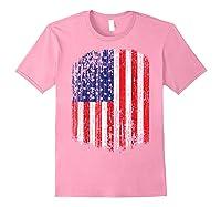 Distressed American Flag, Patriotic Shirts Light Pink