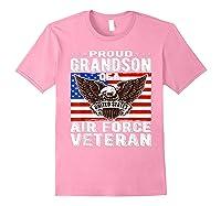 Proud Grandson Of Air Force Veteran Patriotic Military Gifts Shirts Light Pink