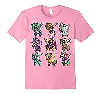 Funny Pug Halloween Pug Pumpkin Dabbing Pug Unicorn Witch Shirts Light Pink