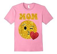 Emoji Gift For Mom Kissing Emoji Heart Mothers Day Shirts Light Pink