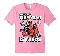 Deadpool Santa Hat I Want Tacos Christmas Shirts Light Pink