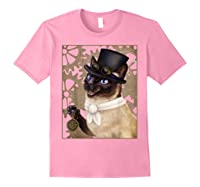 Steampunk Cat - Siamese With A Top Hat, Goggles, And Gears T-shirt Light Pink
