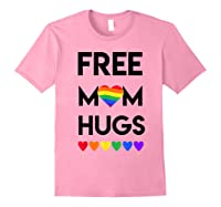 Free Mom Hugs Rainbow Heart Lgbt Pride Month Shirts Light Pink