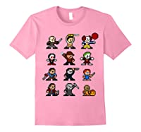 Friends Pixel Halloween Icons Scary Horror Movies T Shirt Light Pink