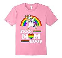 Free Mom Hugs Unicorn Lgbt Pride Rainbow Gift Shirts Light Pink
