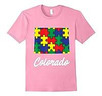 Autism Awareness Day Colorado Puzzle Pieces Gift Shirts Light Pink