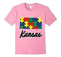 Autism Awareness Day Kansas Puzzle Pieces Gift Shirts Light Pink