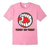 Funny Creepy Halloween Vampire Tooth Trick Treat Shirts Light Pink