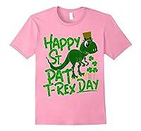 Happy St Pat T Rex Day T Shirt Saint Patrick S Dinosaur Light Pink