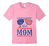All American Mom 4th Of July Sunglasses Matching Family Tank Top Shirts Light Pink