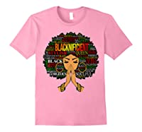 Blacknificient Words Art Afro Natural Hair Black Queen Gift Shirts Light Pink