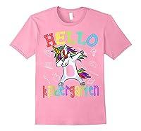 Hello Kindergarten Unicorn Tshirt Funny Back To School Gift Light Pink