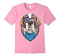 Fourth Of July Bernard American Flag July 4th St Bernard Dog T Shirt Light Pink