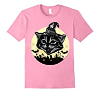 Vintage Scary Halloween Black Cat Witch Hat Moon Pumpkin Bat T Shirt Light Pink