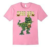 Tree Rex Shirt Christmas T Rex Dinosaur Pajama T-shirt Light Pink