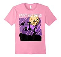 Spoopy Funny Halloween Black Cat Witch Hallow S Eve Joke T Shirt Light Pink