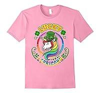 Saint Patrick S Day Unicorn T Shirt Lucky Lepricorn Light Pink