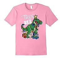 Tree Rex Dinosaur Christmas Gift T Rex Pajamas Xmas Premium T-shirt Light Pink