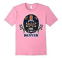 Denver Football Helmet Sugar Skull Day Of The Dead T Shirt Light Pink
