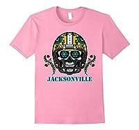 Jacksonville Football Helmet Sugar Skull Day Of The Dead T Shirt Light Pink