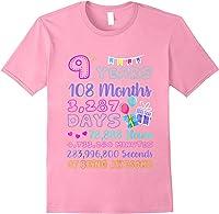 9 Years Old Gifts 9th Birthday Shirt Countdown T-shirt Light Pink