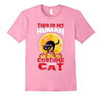 Cat Funny Halloween T-shirt For Girls Adults Light Pink