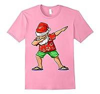 Dabbing Santa Christmas In July Party Hawaiian Santa Beach Shirts Light Pink