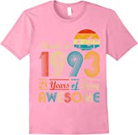 Made In 1993 Vintage Retro 28 Years Old 28th Birthday Gifts T-shirt Light Pink
