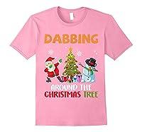 Dabbing Around The Christmas Tree Santa Clause Snowman Ugly T-shirt Light Pink