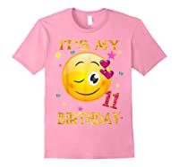 It's My 11th Birthday Girl 11 Years Old Gift Cute Face Shirts Light Pink