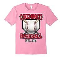 Cincinnati Baseball Retro Vintage Baseball Design Shirts Light Pink